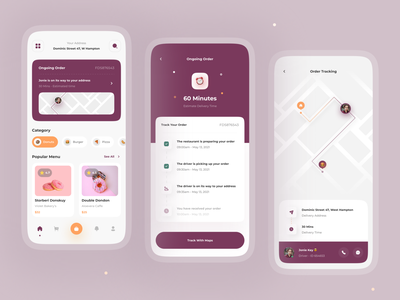 Delyf - Delivery Food App Concept 🛵 card ios donuts eat food event restaurant app food order clean minimalist uidesign uiux app tracking maps mobile food delivery app food app