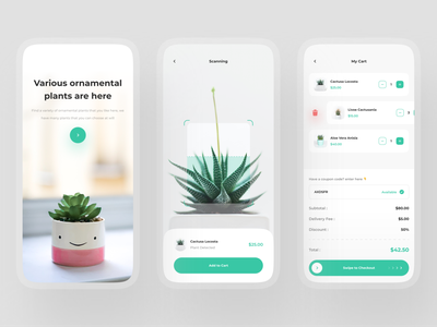 Wuit - Shop Plant App Concept 🎍 ios shop ecommerce green typography clean minimalist uiux uidesign mobile app onboarding indoor planting plant app scanning cart plant