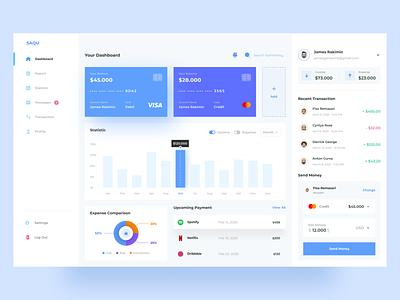 SAQU - Finance Management Dashboard ✨ finance dashboard management minimalist uidesign clean ui financial uiux wallet design interface web design money dashboard ui