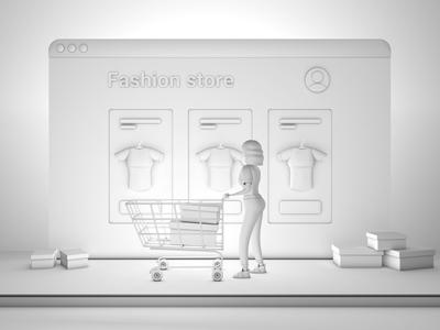 Online shop vs retail store ui design store retail concept online shopping online store online shop webdesign eshop web design 3d