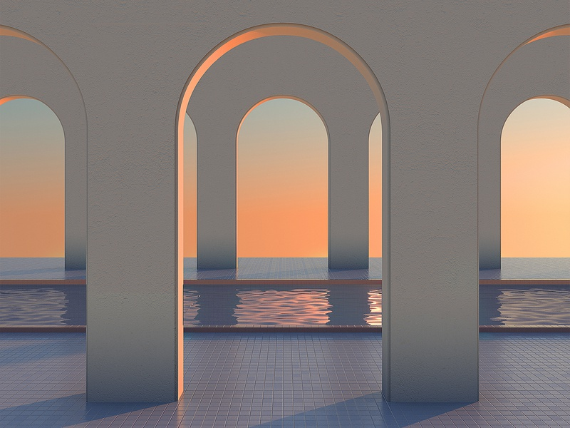 Soothing Architecture / 1 colors sunset architecture 3d