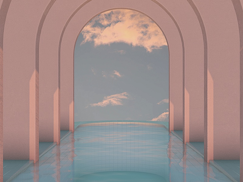 Soothing Architecture / 5 colors architecture 3d