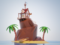 Low poly hotel on island