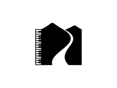 Music of Nature Logo studio pruduction company logo river mountain instrument nature music piano