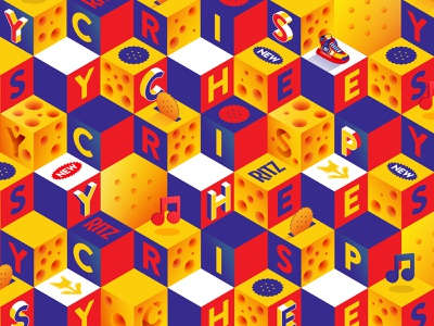 cheesy crispy pattern cheese isometric snack crackers ritz vector food branding illustration