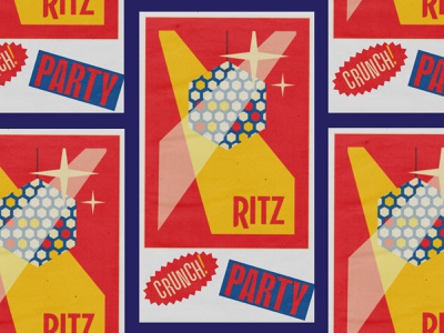 RITZ Cheese Crispers 1 advertising 360i brand design texture retro client ritz poster food iconography flat vector design simple branding typography illustration