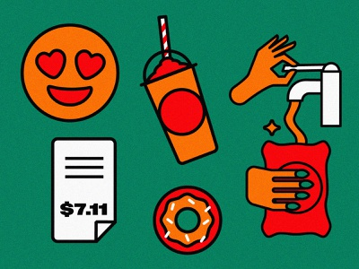 7-Eleven illustrations 2 client 711 poster design vector icon iconography food logo simple branding illustration