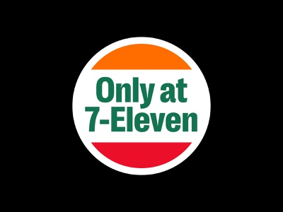 only @ 7 ELEVEn brand corporate branding corporate symbol stripes simple 7eleven streetwear convenience store apple sticker promo sticker