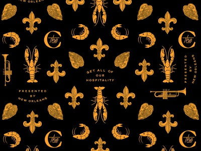 new orleans hospitality pattern concierge new orleans upscale hotel handmade hand drawn simple icon iconography design branding illustration