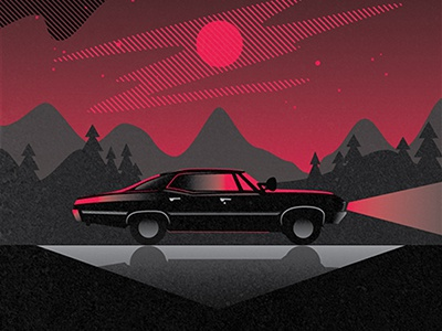 Supernatural Impala sam dean winchester impala cars vector texture screen printing poster tv supernatural