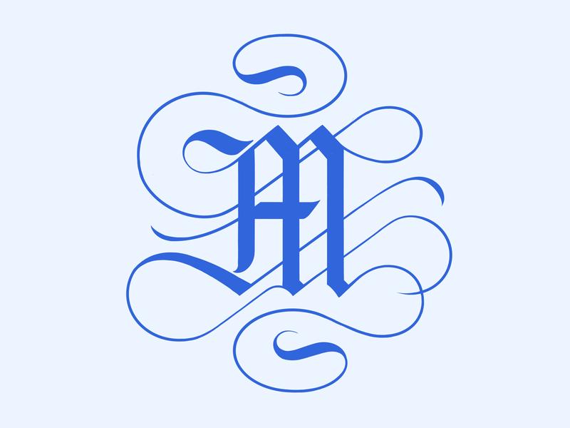 mmmm blackletter custom flourish illustration branding typography logo lettering handlettering
