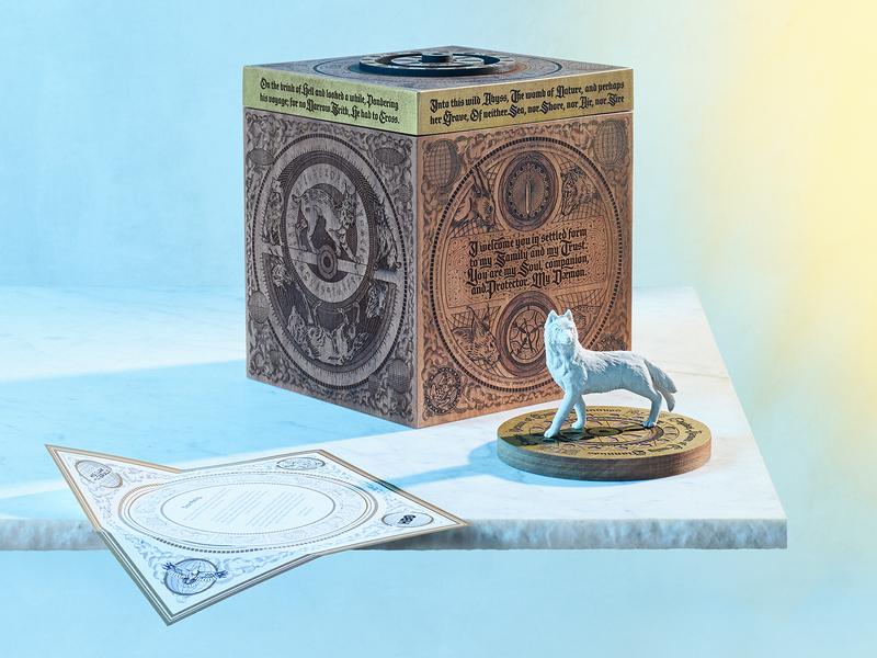 daemon box product 3d daemons his dark materials hbo client custom packaging illustration lettering box