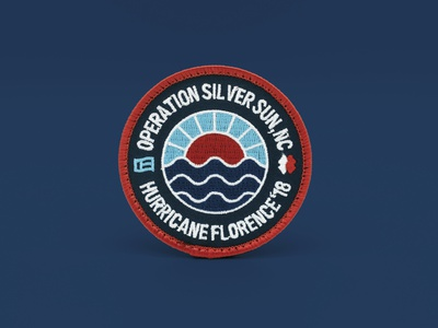Silver Sun disaster relief waves sun embroidered badge patch