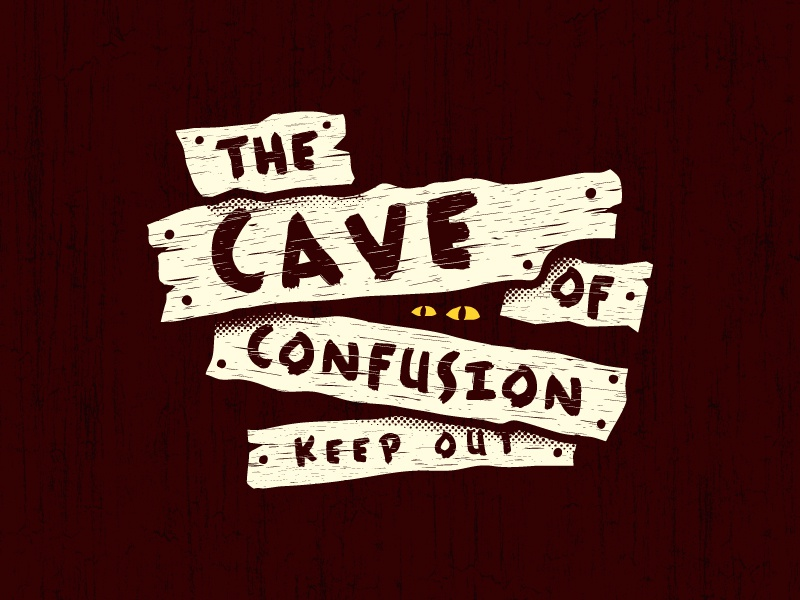 Cave of Confusion logo cave eyes wood sign paint