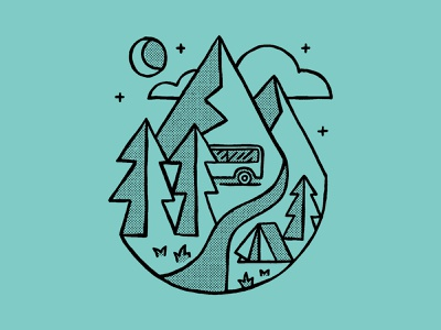 Native Campervans halftone truegritsupply adventure logo vanlife thicklines apparel graphics nature apparel nature illustration tshirt apparel design apparel