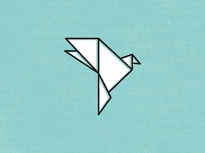 Pretty Bird origami bird spirit animal thick lines zen icon