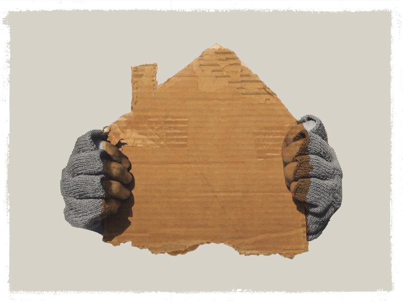 🏚 denver homeless halftone house editorial