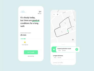 Walker - air pollution free walking routes running app mobile design application clean minimal healthcare design mobile app mobile air app ui walking walk