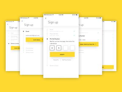 Sign up login minimal app sign in design mobile ux ui flow sign up