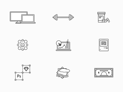 Random icons photoshop sketch mac computer weights pills money simple vector outline line icons
