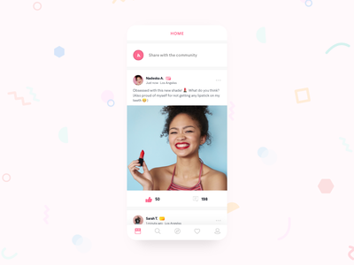 Beauty app social network ecommerce cute network mobile bright design social app beauty makeup ux ui