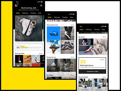 Sneakers social commerce app shop community social ecommerce ux shoes social app app sneakers ui design