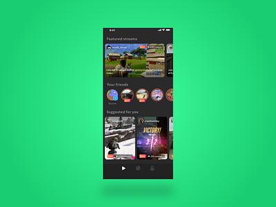 Live streaming gaming - Night mode design live stream streamer gaming video games ui ux product design video app video simple sketchapp
