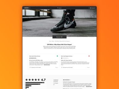 Sneaker product page reviews off-white product page web website design ui sneakers shoes ux ecommerce shop