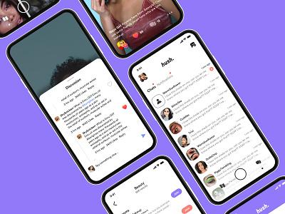 Communication groups interests community full screen video app chat app hush messenger chat social social network product design ux ui design