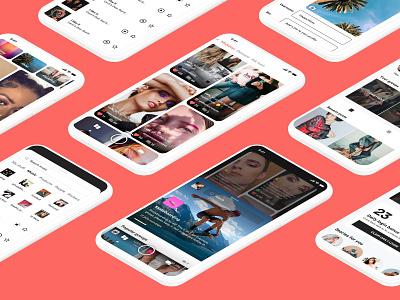 Trial & errors design ui ux product design social network social chat messenger hush chat app app video full screen community interests groups