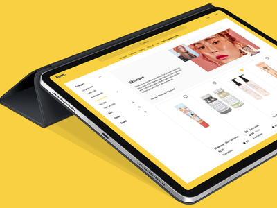 Category concept design web category page border yellow products responsive tablet ecommerce product design website shopping beauty makeup
