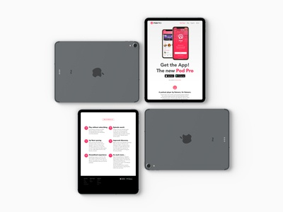 PodPro Get the App! Landing Page iPad Pro responsive