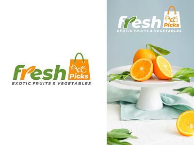 Logo For Fresh Picks ui type icon minimal illustration logo branding vector typography design