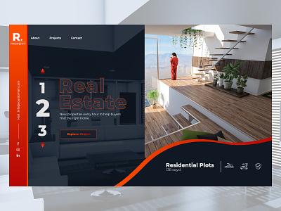 Real Estate builder property developer property real estate animation type web ux ui flat typography design