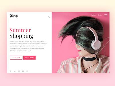 Shopping headphone pink ecommerce app cart shopping ecommerce minimal icon website web ux ui flat typography design
