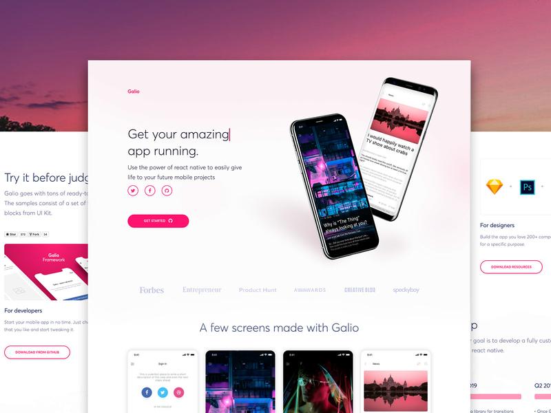 Galio - React Native Framework photoshop sketch screen app mobile free framework react native