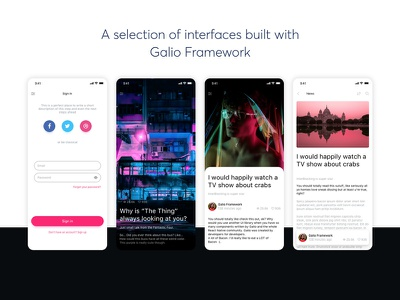 Galio - React Native Framework screen mobile typography ux ui react native sketch free framework