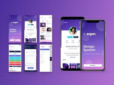 Argon React Native onboarding profile design cards ui screen design button states mobile free react native framework