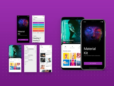Material Kit React Native onboarding materialdesign button states design cards ui screen mobile free react native framework
