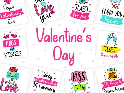 Valentine's Day stickers design