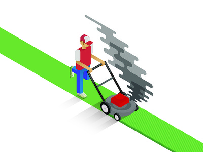 Lawn Mower Dude isometric lawn mowing gas illustration smoke pollution