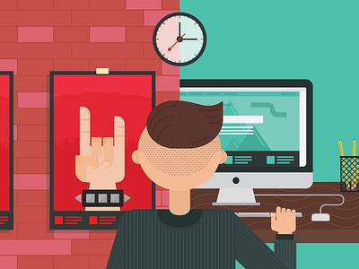 Printeractive print design web design interactive design blog illustration time poster