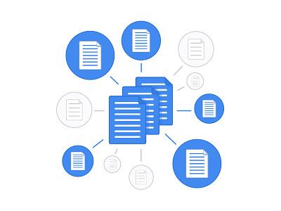 Paperwork paper files documents blue web flat illustration internet grey