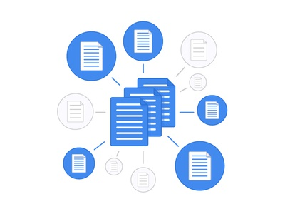 Paperwork paper files documents blue web flat illustration internet grey