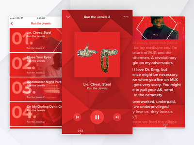 Lyrical Assassin rtj menu list music videos uiux apps electronic hip hop pattern visualizer music player challenge