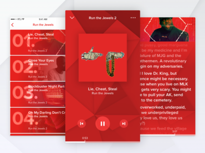 Lyrical Assassin rtj menu list music videos uiux apps electronic hip hop pattern visualizer music player challenge