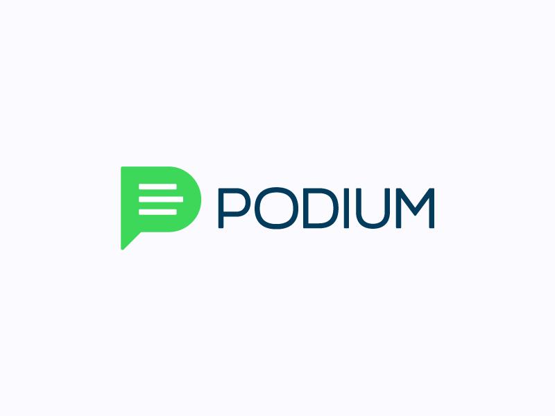 Podium logos branding letter p bubble comment green logotype podium