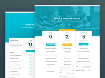 Pricing Tables Experiments get started signup above the fold banner charts tables pricing
