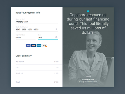 Payment Form testimonial quote ironman ux ui cards blue form field material design payment