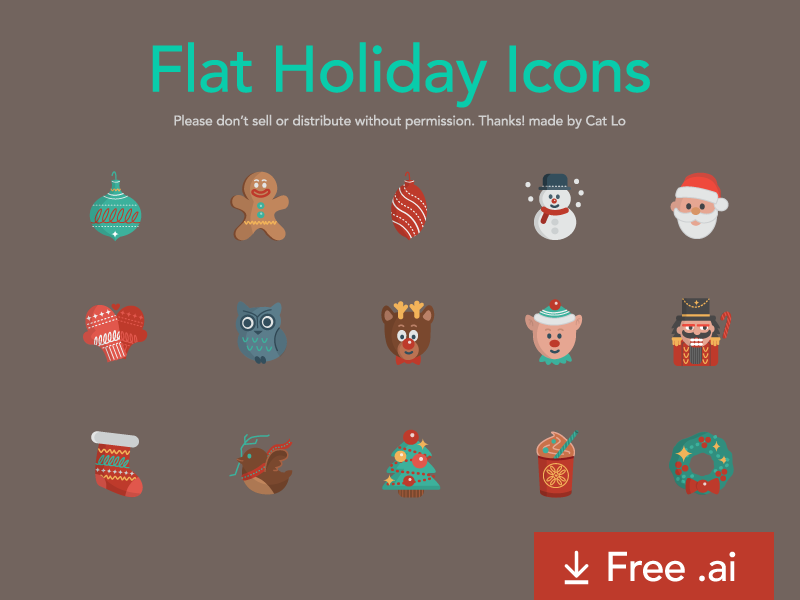 Free Flat Holiday Icons freebie illustrator vector holiday christmas icons free cards